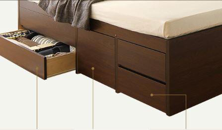 2段タイプの引き出し式収納ベッド