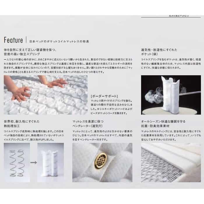 日本ベッドのポケットコイルマットレスの特徴