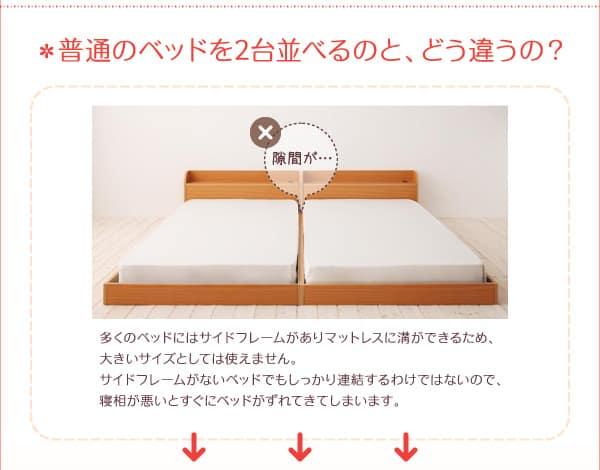 隙間が出来ている2台のベッド