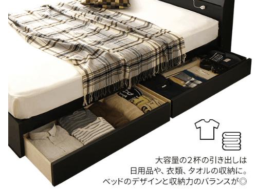 引き出し式収納ベッドにリネン類を収納している