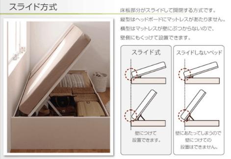 スライドタイプの跳ね上げ式ベッド