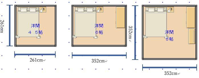 ダブルベッドを4畳半・6畳・8畳に置いたレイアウト