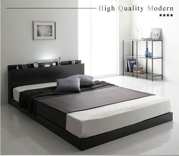 ロータイプベッド すのこ 宮付き LED照明付き シンプル モダン