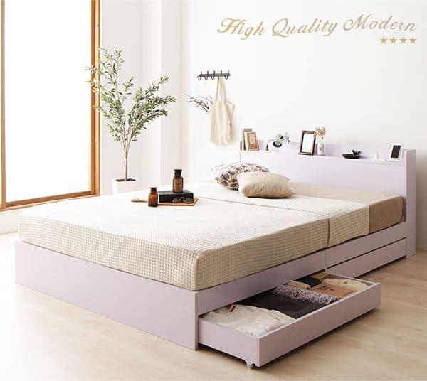 収納付きベッド 引き出し付き 木製 棚付き 宮付き コンセント付き【前板なし】