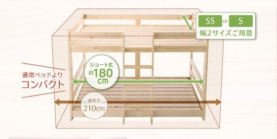 コンパクト二段ベッドのサイズ